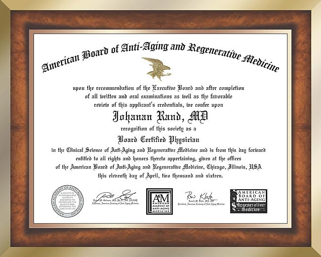 Johanan Rand, M.D. Certificate